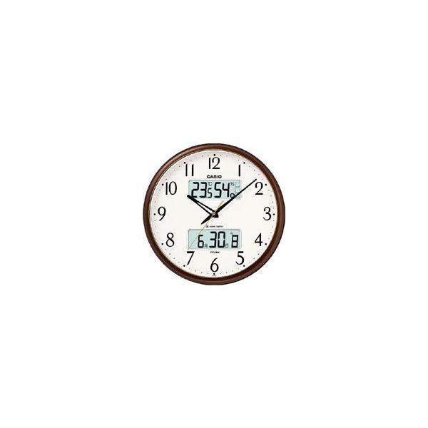 カシオ電波時計壁掛け時計デジタルアナログ掛け時計ホワイト白文字板アラビア数字(CL12JL02)日付曜日カレンダー温度湿度計付き