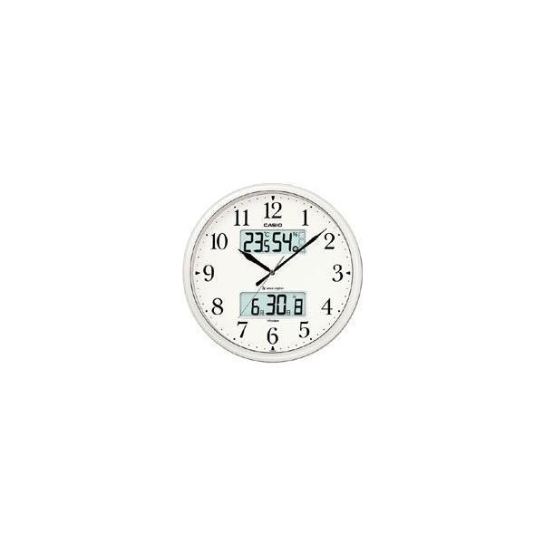 カシオ電波時計壁掛け時計デジタルアナログ掛け時計大型液晶日付曜日カレンダー(CL12JL04)温度湿度計LEDライト付き秒針音が