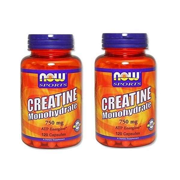 2本セット 海外直送品 Now Foods Creatine Monohydrate, 120 Caps 750 mg|mdk-store