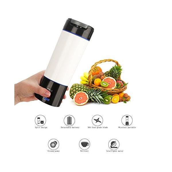 Liebeye ミリ ミキサー リットル 小型 ポータブル USB充電式 電気 多機能 野菜 フルーツ ジューサー マシン 600ml ブラック mdk-store 08