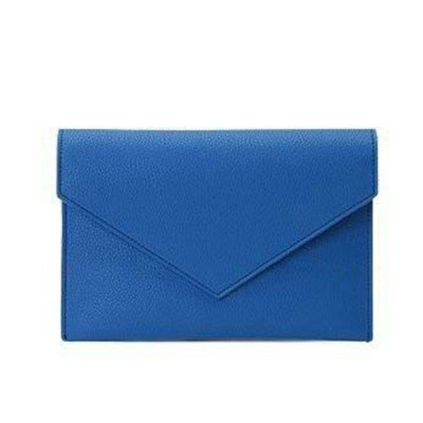全7色 整理できるポケット付仕切りが付いたカラフルクラッチバッグ/ブルー
