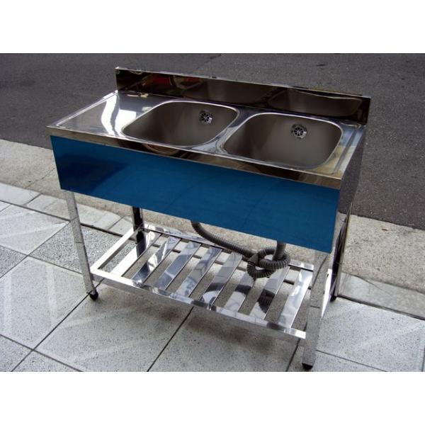 新品 [組立式] 業務用 水切り付 2槽シンク(流し台) W1000xD450xH800mm (バックガード付) 右水槽タイプ [代引可]