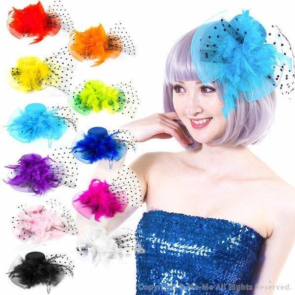 f727a9bbf8e31  ヘッドドレス ヘッドアクセサリー 帽子 ハット 選べる11色☆フェザー チュールリボン ...