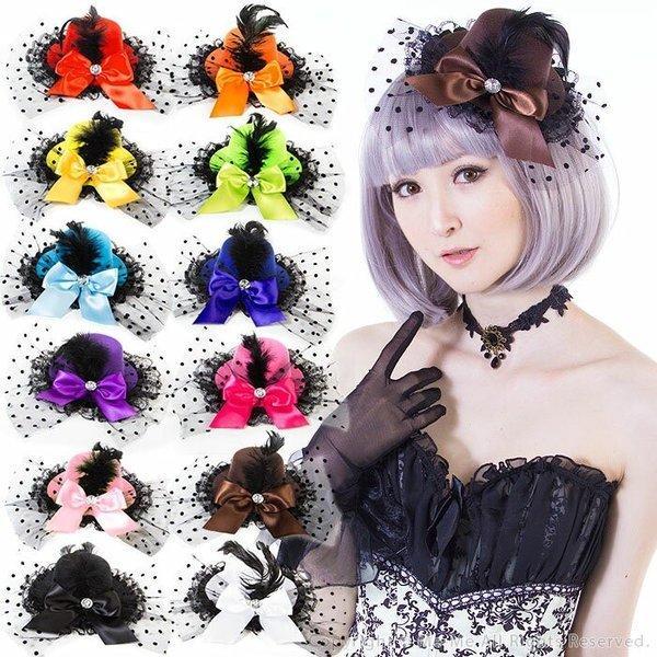 【ヘッドドレス ヘッドアクセサリー 帽子】選べる12色★フェザー&ドットチュールリボンつきレースハット風ヘッドアクセサリー[hf1109]/結婚式 ウェディング