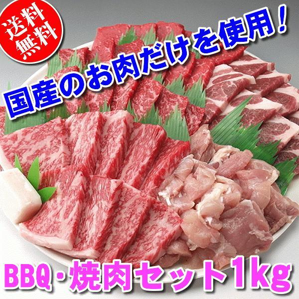 国産 肉 バーベキューセット 焼き肉 焼肉(BBQ バーべキュー)1kg 約4〜5人前 牛肉 豚肉 鶏肉 送料無料 (沖縄・北海道は別途送料要)