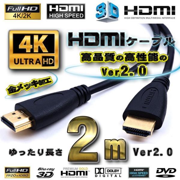 HDMIケーブル2m4K3D対応Ver2.0フルハイビジョン