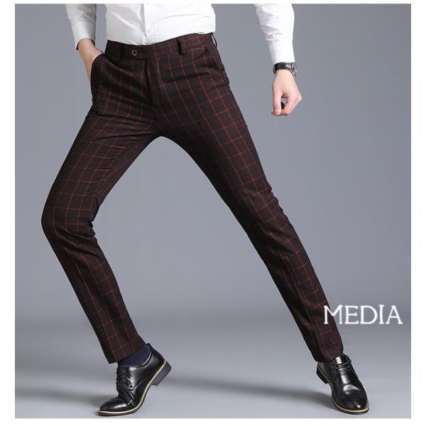 スラックス パンツ メンズ チェック柄 ビジネスパンツ ロングパンツ チノパン ズボン イージーパンツ スリム ボトムス 新作 春秋 細身 紳士 送料無料|media-saronstore|10