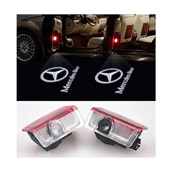 ウェルカムライト、KVCH 1ペアLED礼儀照明ベンツCのための車のドアのレーザープロジェクターのロゴゴーストシャドーライトドアの装飾リムーバーとAm|mediaearth