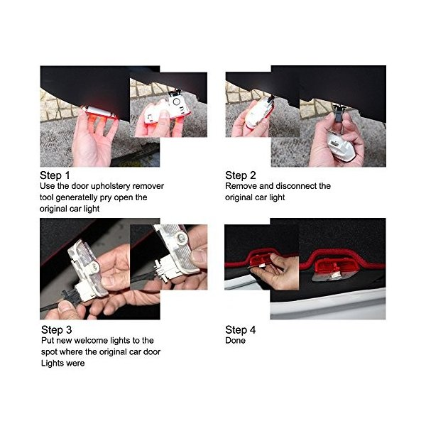 ウェルカムライト、KVCH 1ペアLED礼儀照明ベンツCのための車のドアのレーザープロジェクターのロゴゴーストシャドーライトドアの装飾リムーバーとAm|mediaearth|04