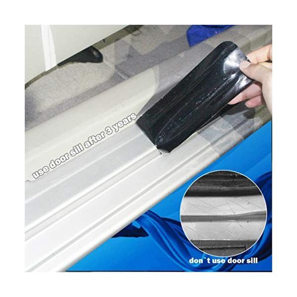車用 汎用 4D 新型繊維 ドア サイドドア キズ 防止 スカッフプレート ステップ ガード カバー 保護 ステッカー ブラック(黒) ハイグロス(光|mediaearth|06