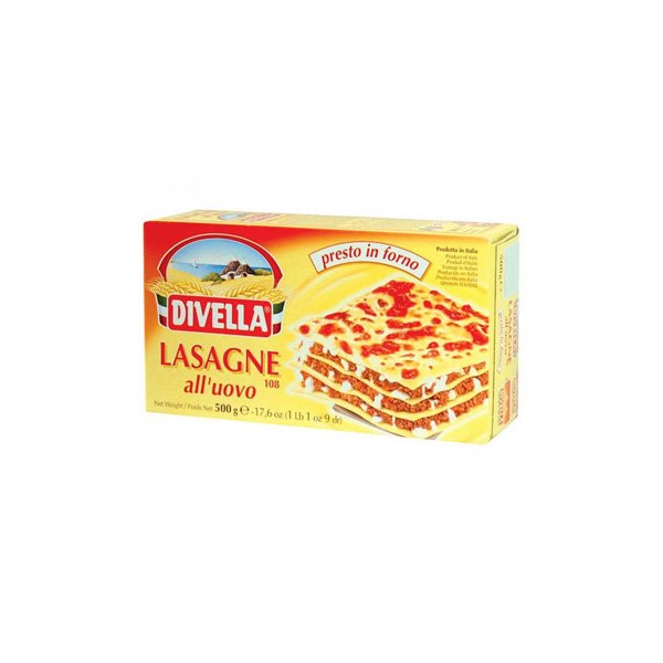 DIVELLA ディヴエッラ パスタ 卵入りパスタ ラザーニェ 500g 12箱セット 606-151 代引き不可/同梱不可