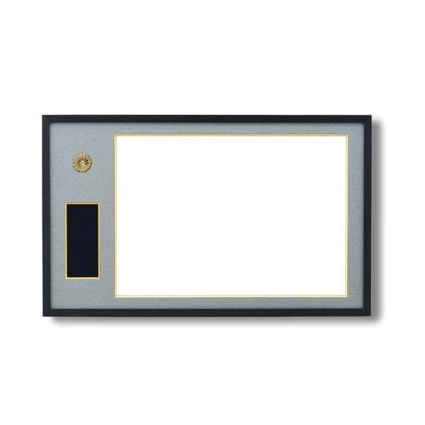 日本製 叙勲額/フレーム 〔勲記サイズ(595×420mm)/黒/グレードンス〕 化粧箱/黄袋入り 勲記勲章額