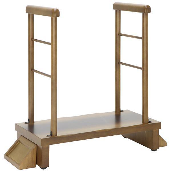 玄関台/踏み台 〔両手すり付 幅80cm〕 木製 靴収納スペース付き 〔組立品〕 〔エントランス 入口〕