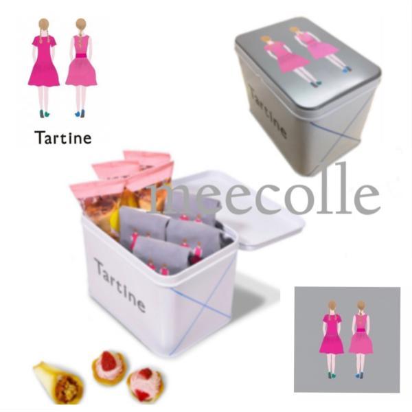 母の日 2020     TARTINE   タルティン   (  ストロベリータルティン & ブーケ 四角缶  小   )  お菓子  クッキー 詰め合わせ|meecolle