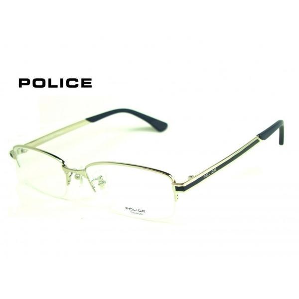 ポリス VPL824J  0S11 【POLICE】 シルバー×マットブルー 『正規品 』   メガネフレーム  ◆送料無料◆ 度付可!
