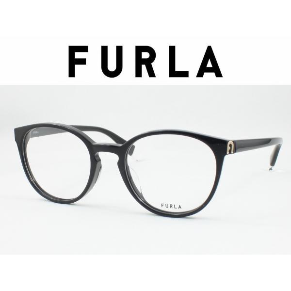 FURLA フルラ VFU393J-0700 メガネフレーム セルフレーム 度付き対応 近視 遠視 老眼 遠近両用 ボストン ラウンド 丸メガネ