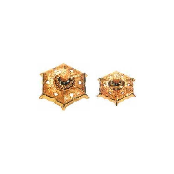 釘隠六葉金具(銅製金メッキ)5.5寸 1個価格 / 金物 飾り 釘かくし 神社 寺