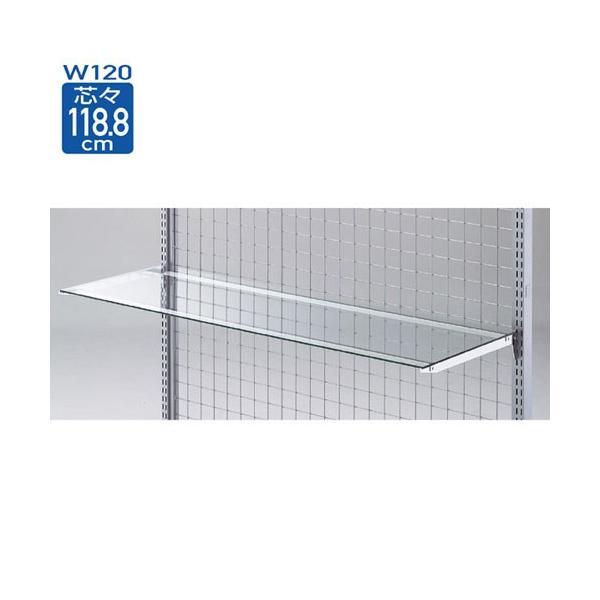 ガラス棚セットW120cm インハングタイプ ガラス5mm厚 D40cm