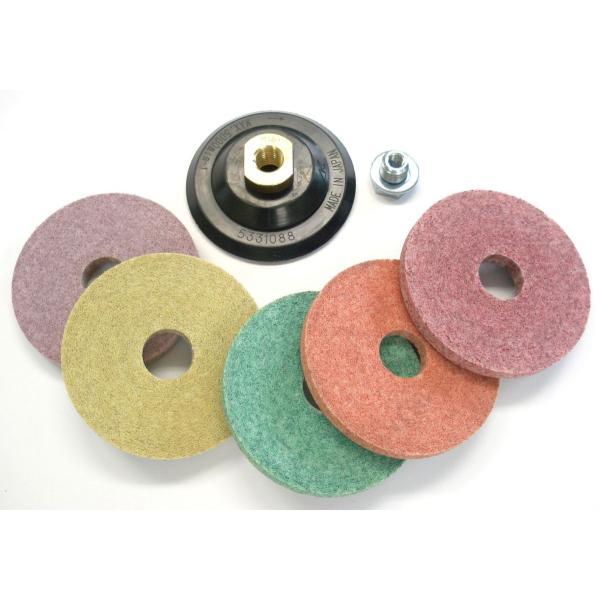 大理石再研磨用ファブリックダイヤ マカロン5種セット マジックテープ式ゴムパッド1個付 M10及びM16軸電動工具、エアー工具用