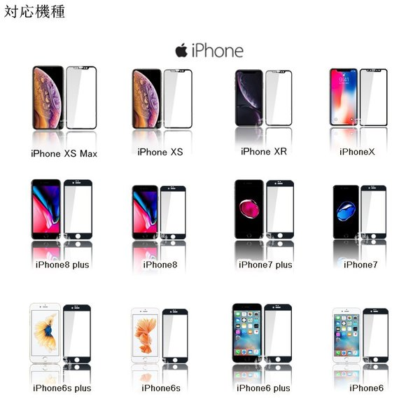 iPhone 11 Pro Max iPhone XS Max iPhone XR 3D 全面保護 強化ガラス保護フィルム 曲面 ガラスフィルム iPhone X/8plus/8/7plus/7/6s/6s plus|meiseishop|04