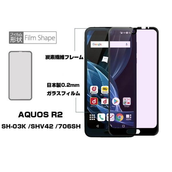 AQUOS R2 ブルーライトカット 全面保護ガラスフィルム AQUOS R2 SHV42 強化ガラス保護フィルム AQUOS R2 SH-03K ガラスフィルム AQUOS R2 706SH ソフトフレーム meiseishop 05