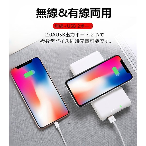 20100mAh QIワイヤレス充電器 大容量モバイルバッテリー iOS/Android対応 軽量 薄型 スマホ iphoneX Xperia 無線充電 3台同時充電 USB2ポート急速充電【PL保険】|meiseishop|06