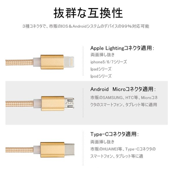 iPhoneケーブル Type-Cケーブル Micro USBケーブル 3in1充電ケーブル 超小型 ストラップ式 急速充電ケーブル ナイロンケーブル iPhone用 Android用|meiseishop|17