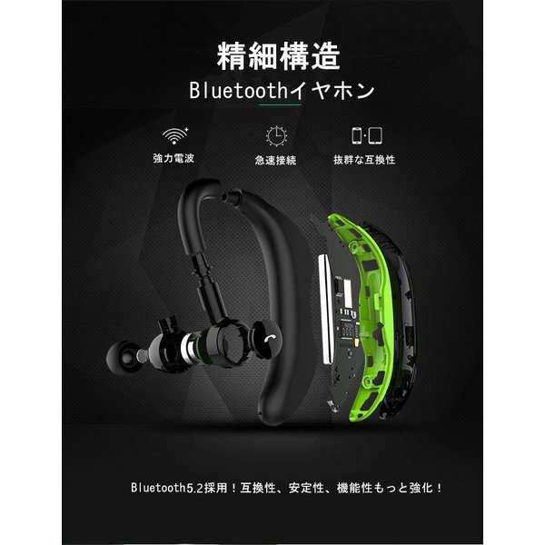 Bluetooth 4.1 耳掛け型 ブルートゥースイヤホン ワイヤレスイヤホン ヘッドセット 片耳 最高音質 日本語音声通知 ハンズフリー 180°回転 超長待機 左右耳兼用 meiseishop 04