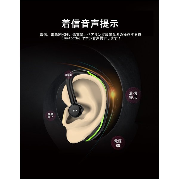 Bluetooth 4.1 耳掛け型 ブルートゥースイヤホン ワイヤレスイヤホン ヘッドセット 片耳 最高音質 日本語音声通知 ハンズフリー 180°回転 超長待機 左右耳兼用 meiseishop 10