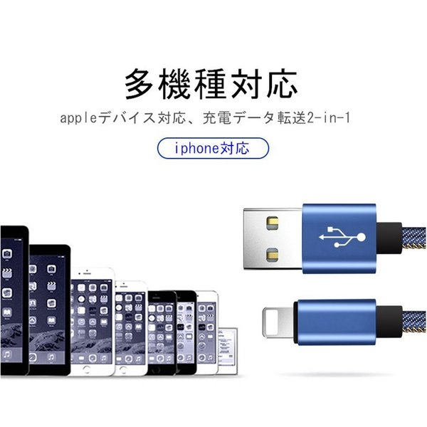 iPhoneケーブル iPad用 急速充電ケーブル デニム生地 収納ベルト付き 充電器 データ転送 USBケーブル 長さ 0.25m/0.5m/1m/1.5m iPhone8 Plus iPhoneX iPhone用|meiseishop|11