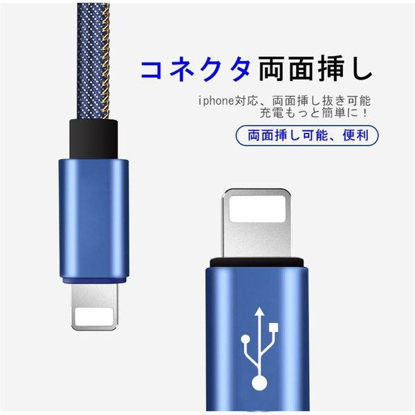 iPhoneケーブル iPad用 急速充電ケーブル デニム生地 収納ベルト付き 充電器 データ転送 USBケーブル 長さ 0.25m/0.5m/1m/1.5m iPhone8 Plus iPhoneX iPhone用|meiseishop|10