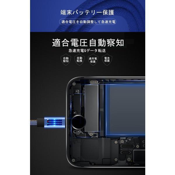 iPhoneケーブル iPad用 長さ2m 急速充電ケーブル デニム生地 収納ベルト付き モバイルバッテリー 充電器 データ転送 USBケーブル iPhone8 Plus iPhoneX iPhone用|meiseishop|04