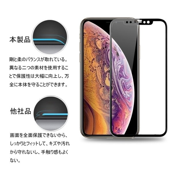 iPhone XS iPhone XS Max iPhone XR 3D全面強化ガラス保護フィルム 曲面 0.2mm iPhone XR 剛柔ガラスフィルム iPhone X ソフトフレーム  iPhone XS Max 液晶保護|meiseishop|08
