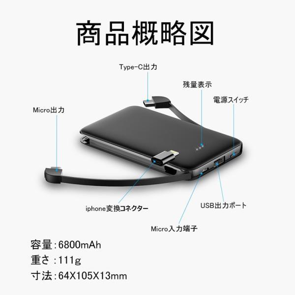 6800mAh モバイルバッテリー 超軽量 ケーブル内蔵 ミニ型 超薄型 3台同時急速充電 各機種対応 携帯充電器 コンパクト スマホ充電器 PSE認証【PL保険】|meiseishop|10