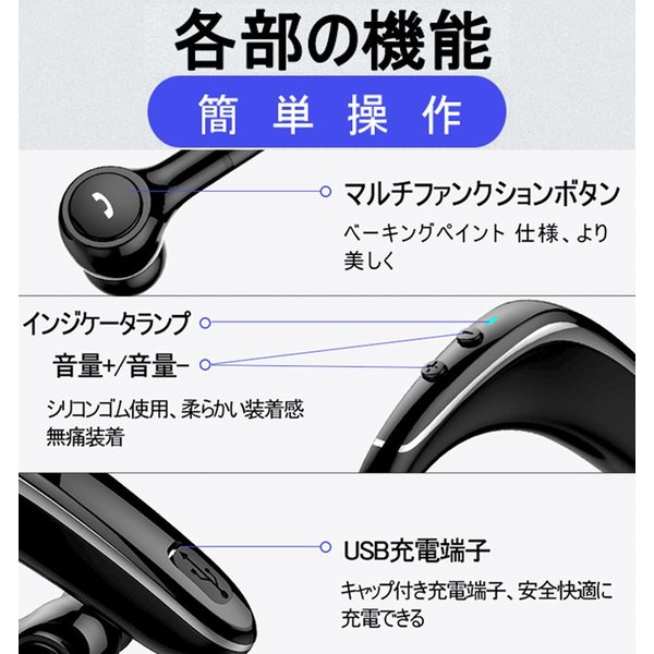ブルートゥースヘッドホン ワイヤレスイヤホン Bluetooth 5.0 耳掛け型 ヘッドセット 左右耳通用 最高音質 無痛装着 180°回転 超長待機 マイク内蔵 送料無料 meiseishop 12