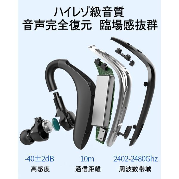ブルートゥースヘッドホン ワイヤレスイヤホン Bluetooth 5.0 耳掛け型 ヘッドセット 左右耳通用 最高音質 無痛装着 180°回転 超長待機 マイク内蔵 送料無料 meiseishop 18