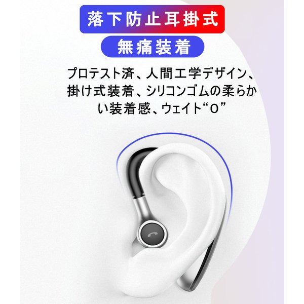 ブルートゥースヘッドホン ワイヤレスイヤホン Bluetooth 5.0 耳掛け型 ヘッドセット 左右耳通用 最高音質 無痛装着 180°回転 超長待機 マイク内蔵 送料無料 meiseishop 03