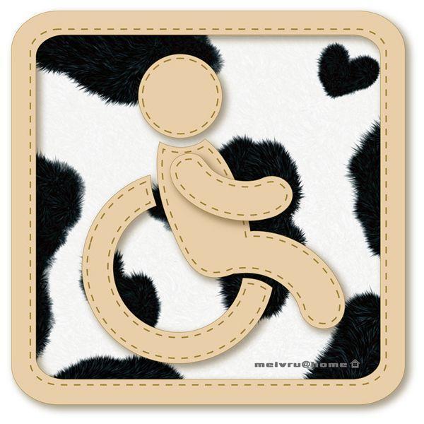 車椅子マーク 身障者 ステッカー /車いす 車イス 福祉車両 牛柄 ハラコ柄(ステッカータイプ/車椅子 うし柄)