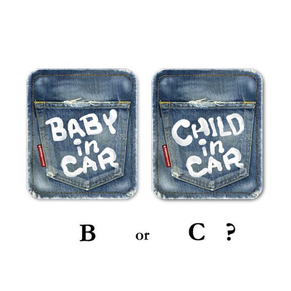 BABY IN CAR ベビーインカー ステッカー ヴィンテージデニム風 /赤ちゃんが乗っています 車(ステッカータイプ/デニム風BABY)