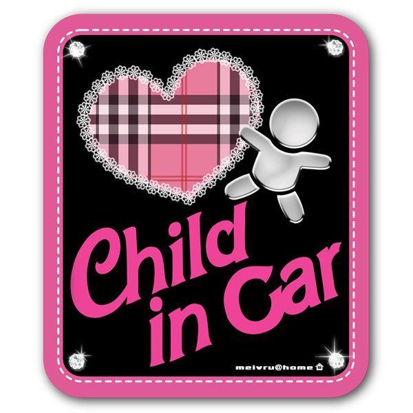 チャイルドインカー CHILD IN CAR ステッカー 子供が乗ってます(ステッカータイプ/ピンキーCHILD)