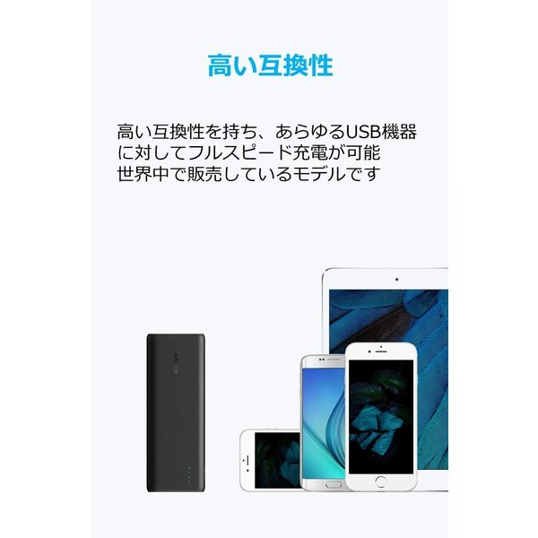 Anker PowerCore 20100 (20100mAh 2ポート 超大容量 モバイルバッテリー) iPhone&Android対応 マット仕上げ (ブラック)|mejapon|06