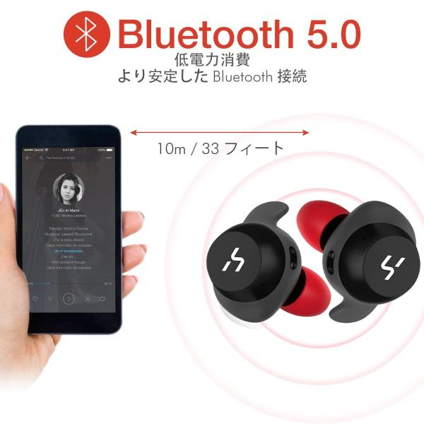 HAVIT「Bluetooth 5.0 」Bluetooth イヤホン完全ワイヤレスイヤホン AAC対応/Siri対応/IPX5防水規格/最大18時間音楽再生/高音質チタンドライバー搭載 G1黒+赤 mejapon 04