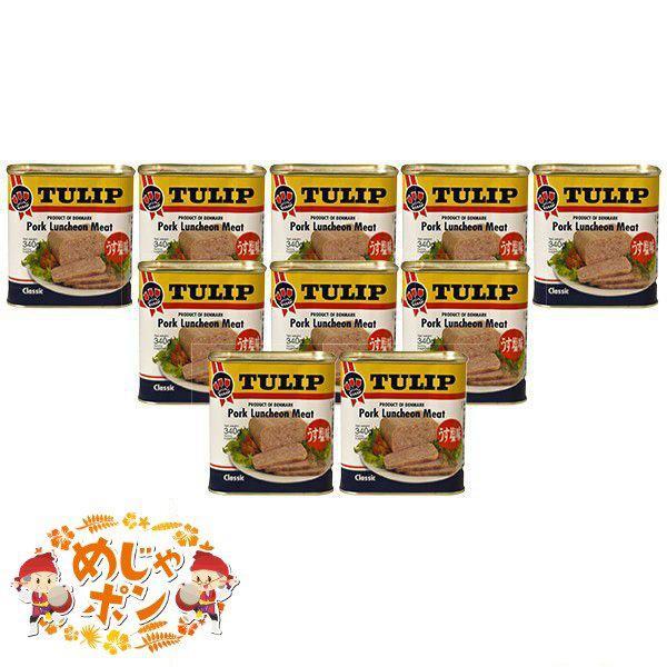 ポーク 缶 沖縄 チャンプルー 定番 チューリップ お土産 おすすめ TULIPポークランチョンミートうす塩味340g×10缶セット