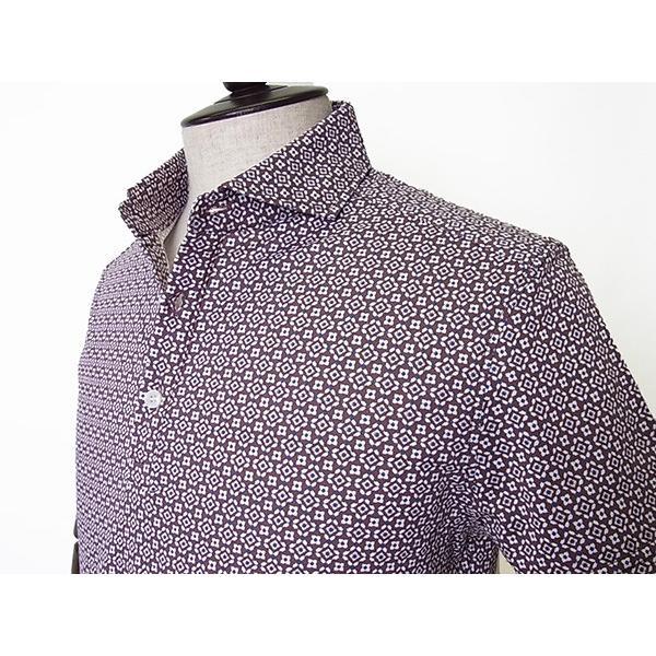 【50%OFF】La cresta del DRAGONE ドラゴーネ 小紋柄 ポロシャツ 半袖 カッタウェイ ブラウン メンズ 紳士服 日本製 mejiroleacca 04