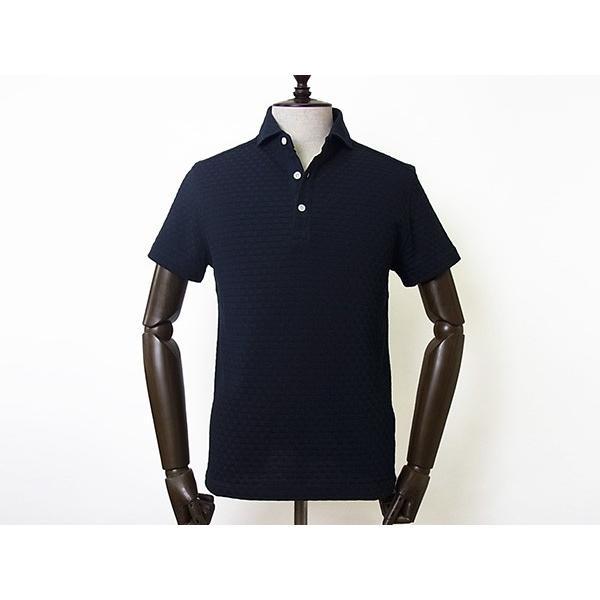 【50%OFF】La cresta del DRAGONE ドラゴーネ ワッフル編み風 ポロシャツ 半袖 カッタウェイ ネイビー 紺 メンズ 紳士服 日本製|mejiroleacca|02