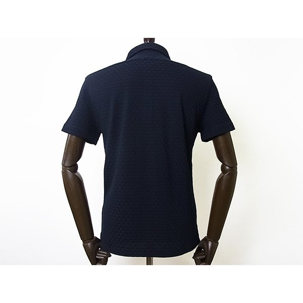 【50%OFF】La cresta del DRAGONE ドラゴーネ ワッフル編み風 ポロシャツ 半袖 カッタウェイ ネイビー 紺 メンズ 紳士服 日本製|mejiroleacca|03
