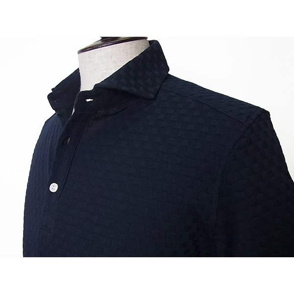 【50%OFF】La cresta del DRAGONE ドラゴーネ ワッフル編み風 ポロシャツ 半袖 カッタウェイ ネイビー 紺 メンズ 紳士服 日本製|mejiroleacca|04