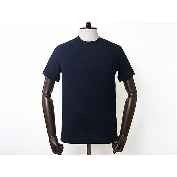 【50%OFF】La cresta del DRAGONE ドラゴーネ ワッフル編み風 ポケットTシャツ カットソー 半袖 クルーネック ネイビー 紺 メンズ 紳士服 日本製|mejiroleacca|02