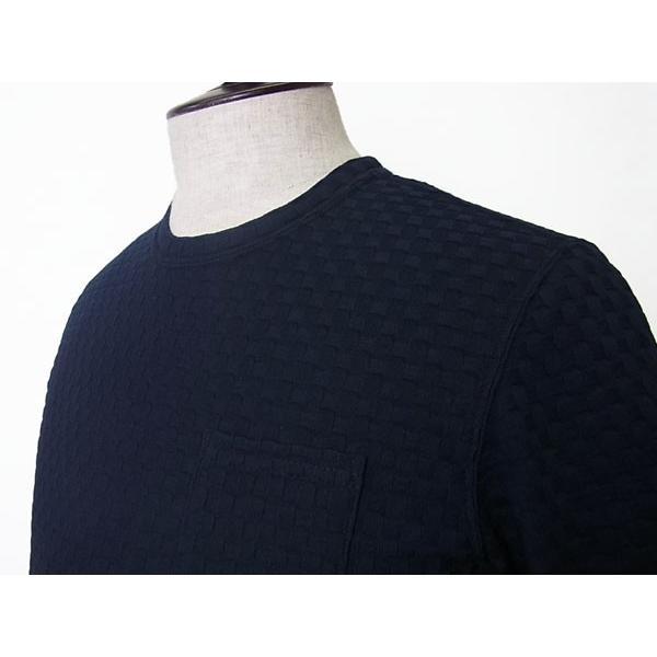 【50%OFF】La cresta del DRAGONE ドラゴーネ ワッフル編み風 ポケットTシャツ カットソー 半袖 クルーネック ネイビー 紺 メンズ 紳士服 日本製|mejiroleacca|04