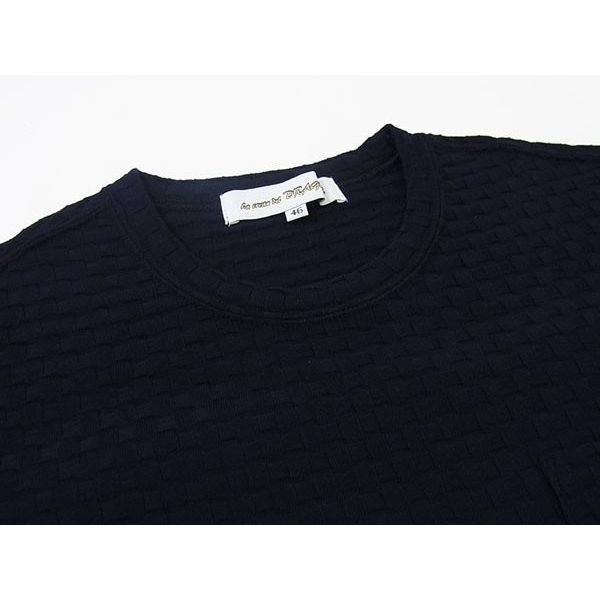 【50%OFF】La cresta del DRAGONE ドラゴーネ ワッフル編み風 ポケットTシャツ カットソー 半袖 クルーネック ネイビー 紺 メンズ 紳士服 日本製|mejiroleacca|06